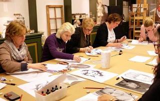 Cursisten Roparun Workshop Portret in Inkt
