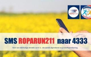 """SMS """"ROPARUN211"""" naar 4333 om € 3,- te doneren met een SMS bericht"""